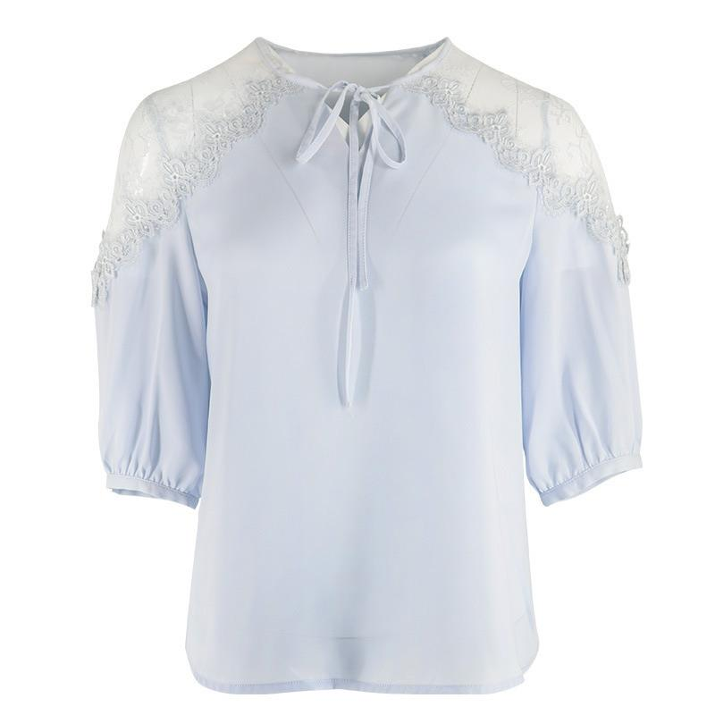 PNM ClOTHING TOP Top With Contrast Sheer Sleeves