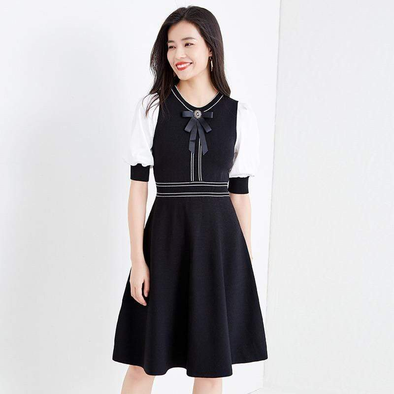 PNM ClOTHING women dress Knit dress with tie front