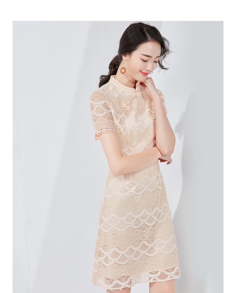 PNM CLOTHING women dress Laces Cheongsam Dress