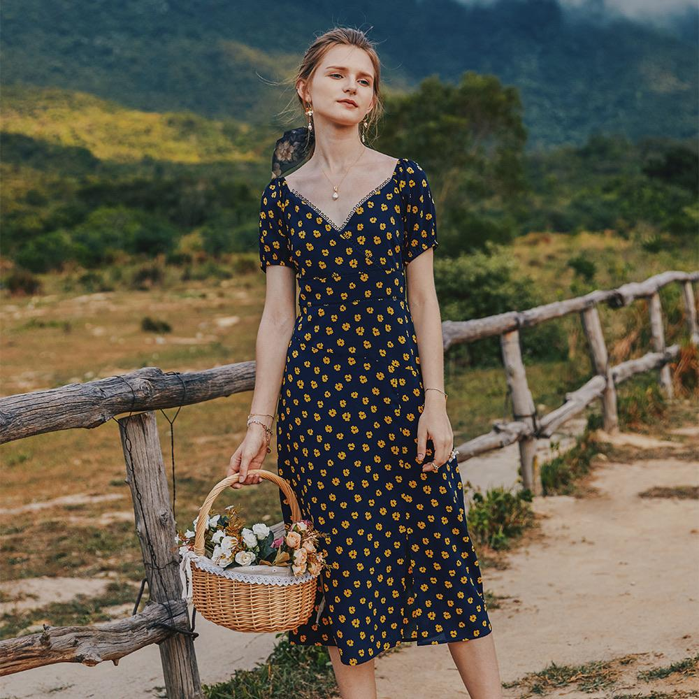 PNM ClOTHING women dress Printed Gathered Midi Dress