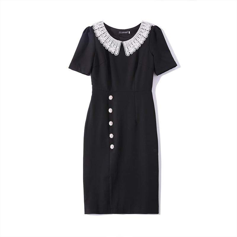 PNM CLOTHING women dress Short Sleeved With Buttons Dress