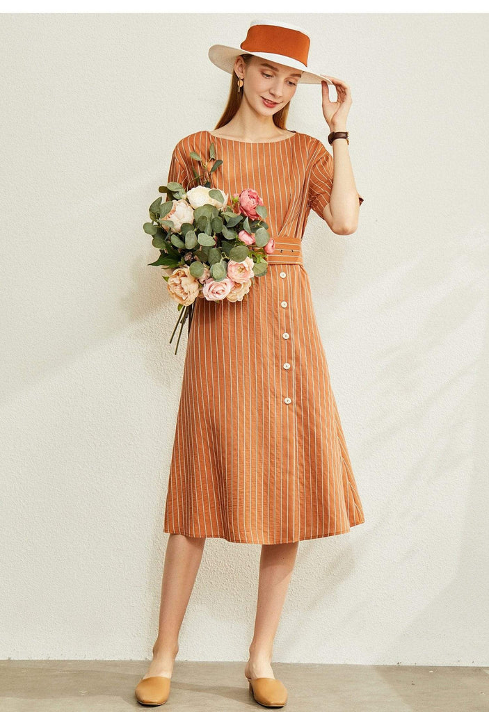 PNM ClOTHING women dress sleeved striped midi drees