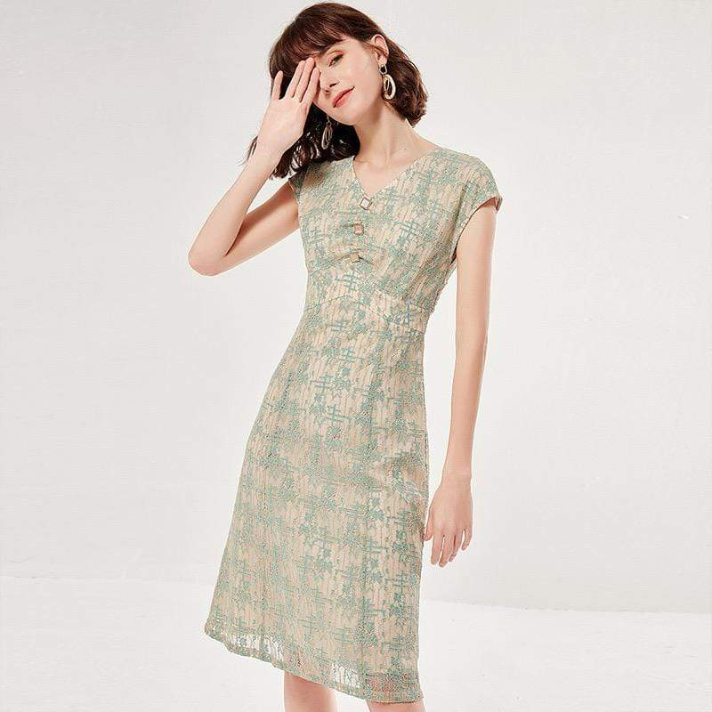 PNM ClOTHING women dress V Neck With Pearl Buttons Dress