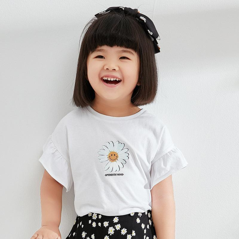 PNM TOP 100 / White Sleeved flower tee for kids