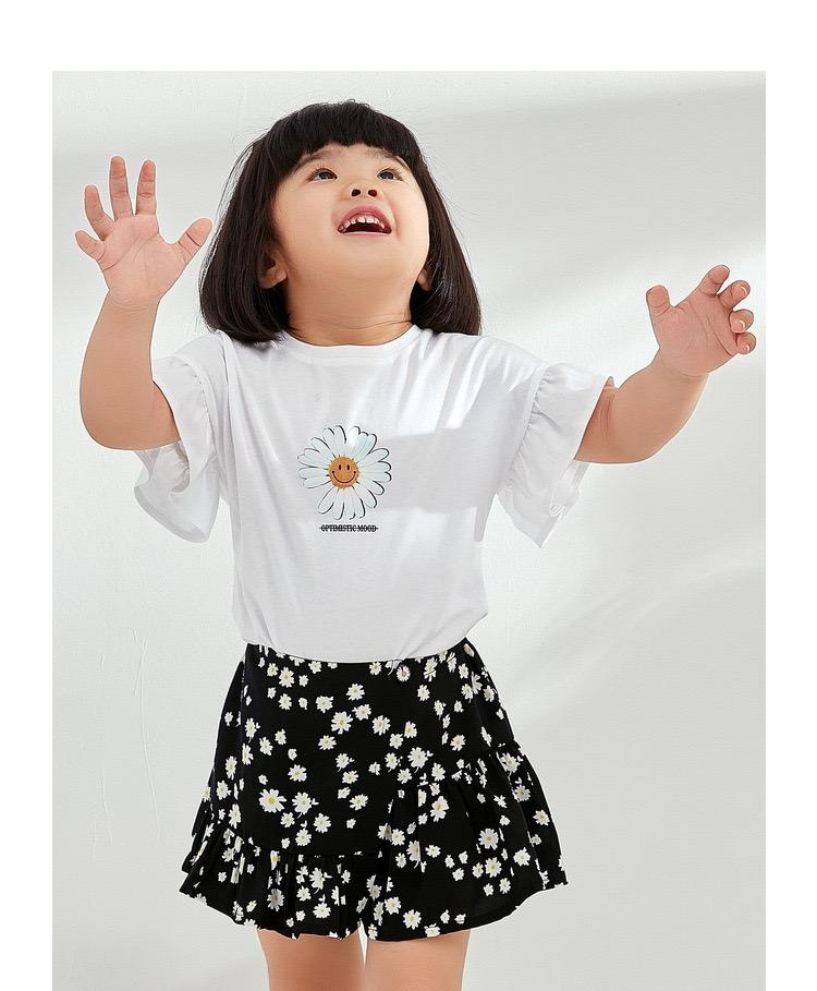 PNM TOP 90 / White Sleeved flower tee for kids