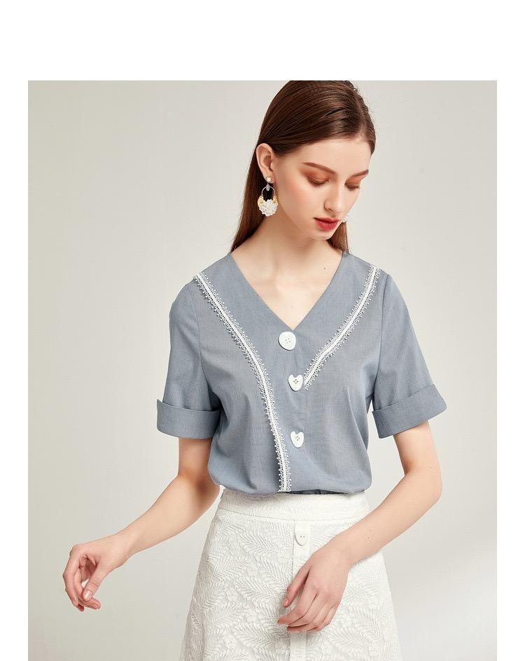 PNM TOP Short sleeved top with layered pleated hem