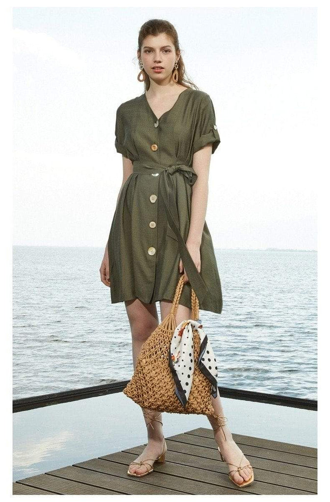 PNM women dress S / Green Shirt Dress With Belt