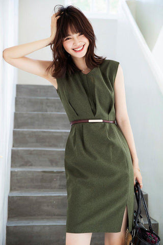 PNM women dress S / GREEN Sleeveless V-Neck Dress With belt