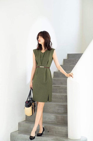 PNM women dress Sleeveless V-Neck Dress With belt