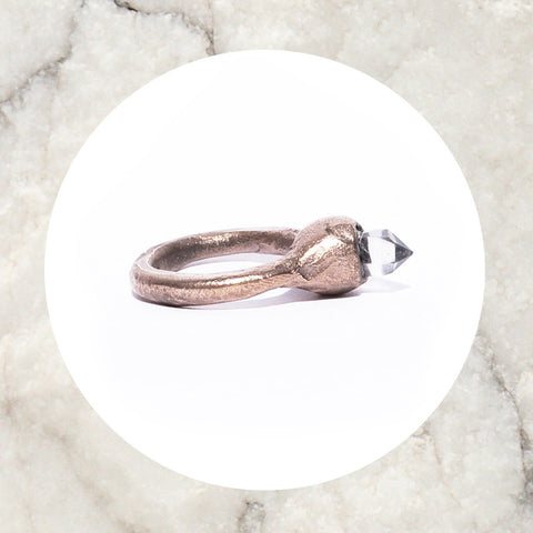 Clear Quartz rose ring