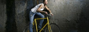 girl on a single speed bike