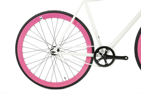 Single Speed & Fixed Gear Bikes - White&Fuchsia 2
