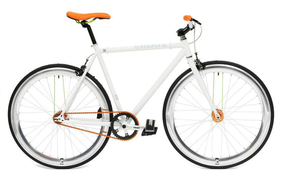 Single Speed & Fixed Gear Bikes - Create White & Orange