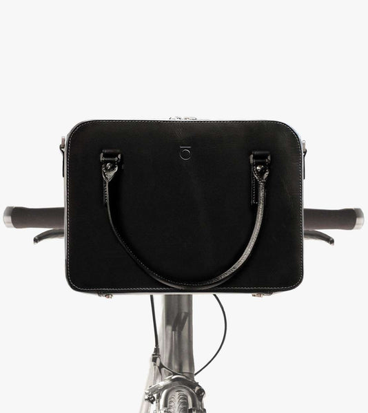 Black leather cycling bag