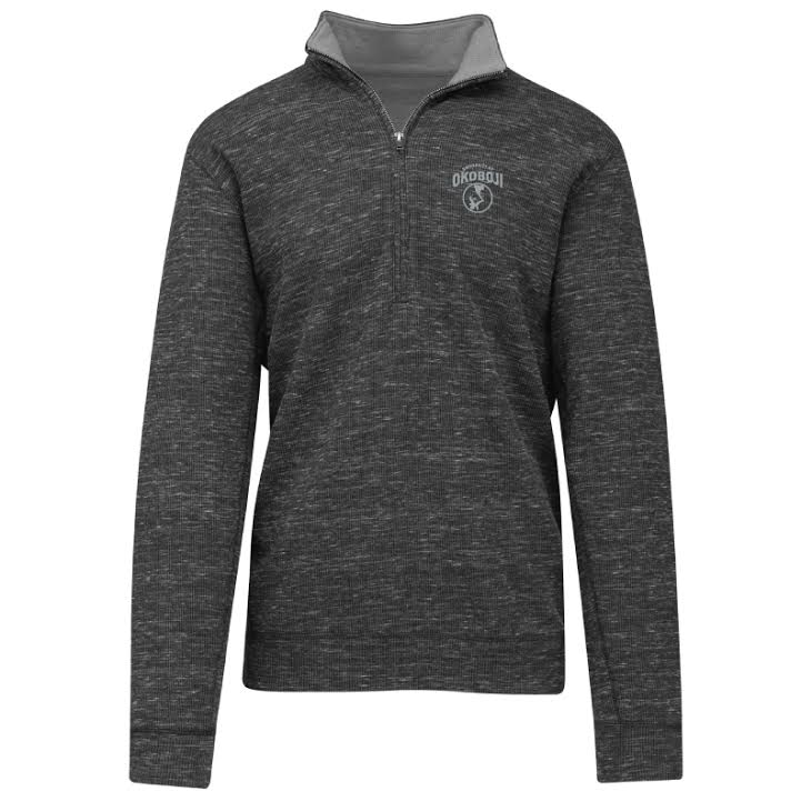 U of O Textured Quarter-Zip Pullover - Charcoal