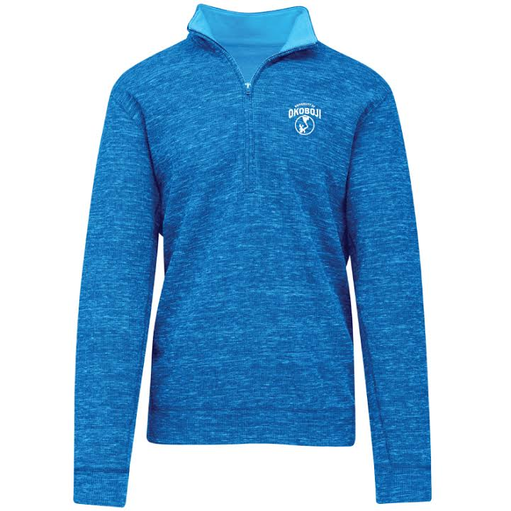 U of O Textured Quarter-Zip Pullover - Blue