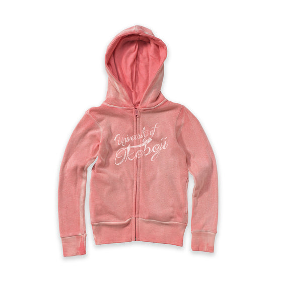 Youth Angel Fleece Sanded Deep Coral Full Zip Hooded Sweatshirt
