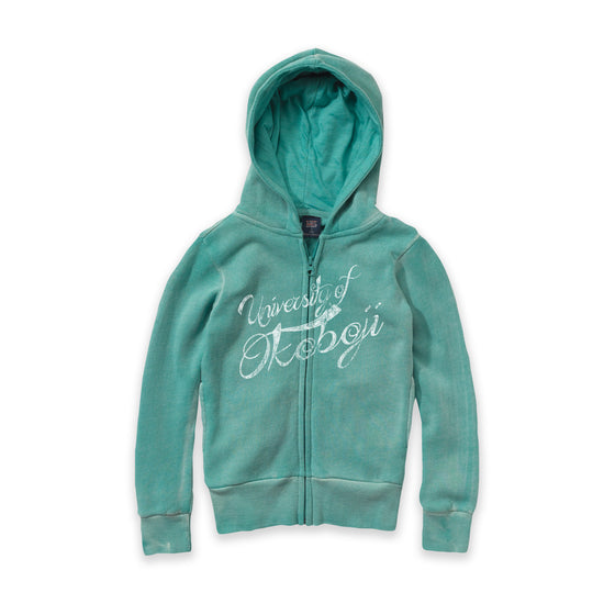 Youth Angel Fleece Sanded Jade Full Zip Hooded Sweatshirt