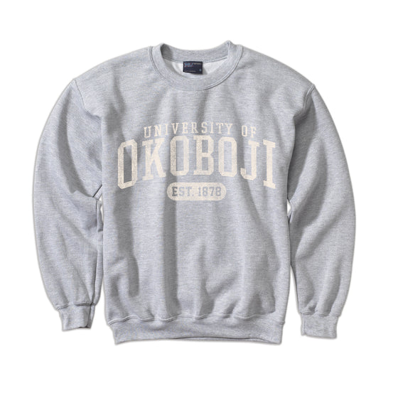 University of Okoboji Comfort Fleece Crew - Heather Grey