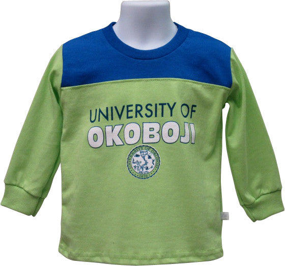 Kid's Green & Blue University of Okoboji Long Sleeve Tee