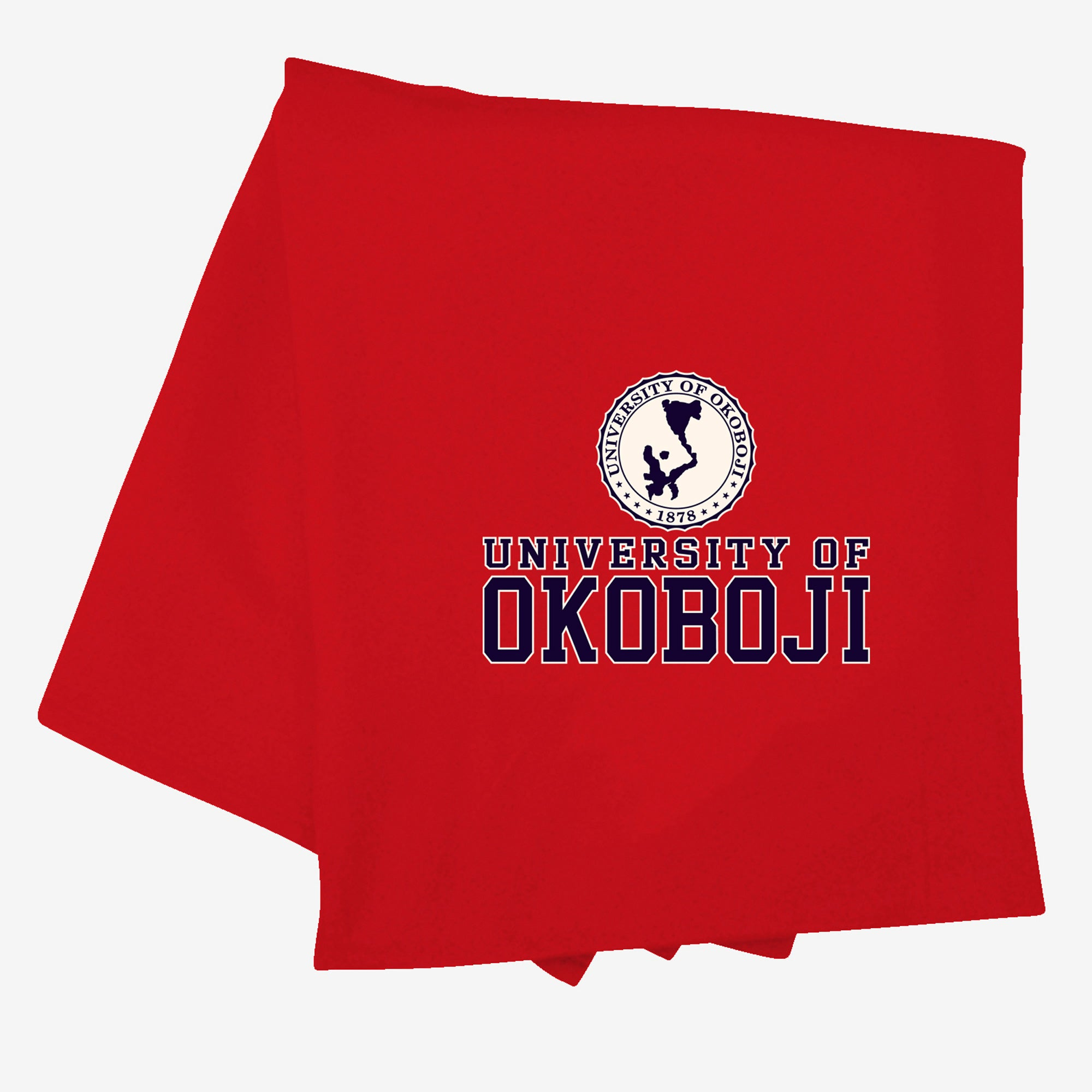 Red/Heather Okoboji 70's Flock Sweatshirt Blanket