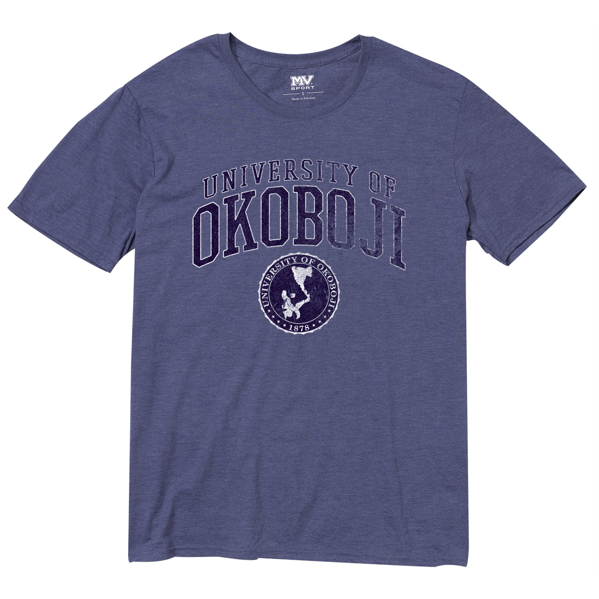 University of Okoboji Seasoned Tri-Blend Tee - Dark Heather Royal