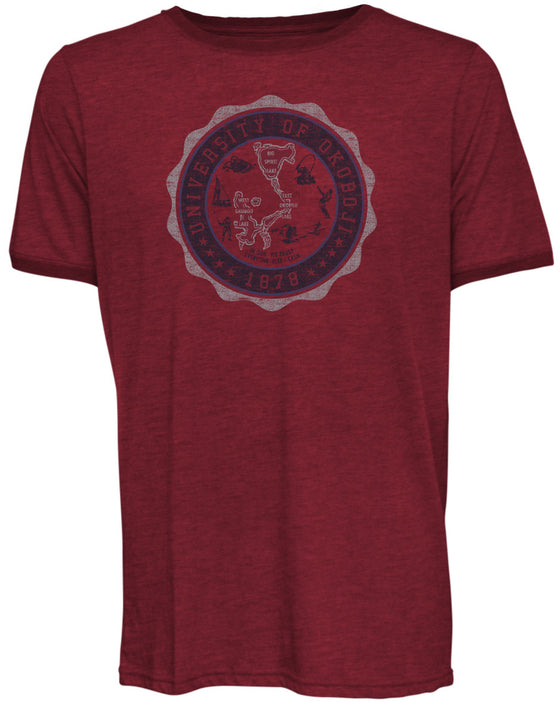 University of Okoboji Crest Stamp Tee - Heathered Red