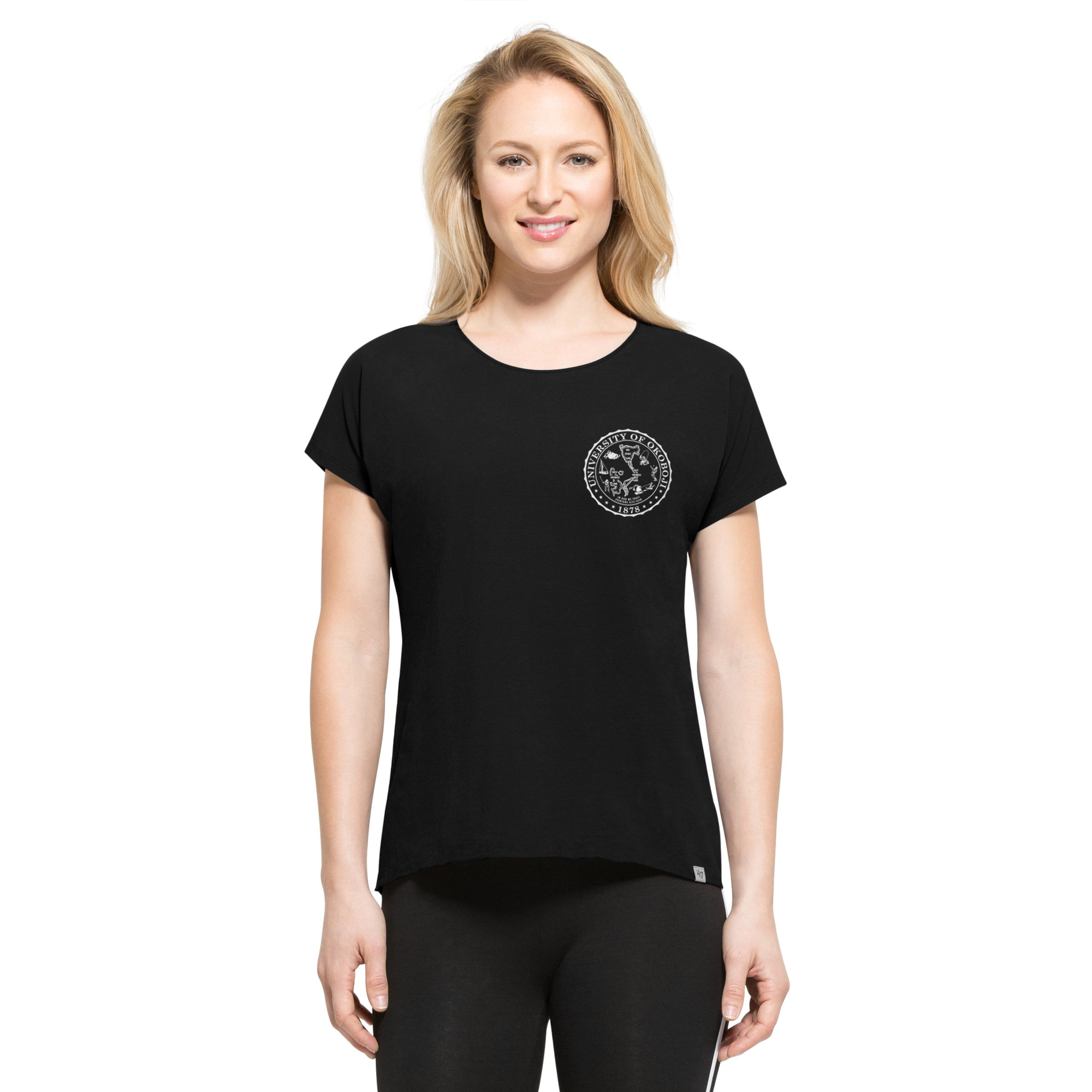 Women's Okoboji Crest Jet Black Forward Lumi Tee