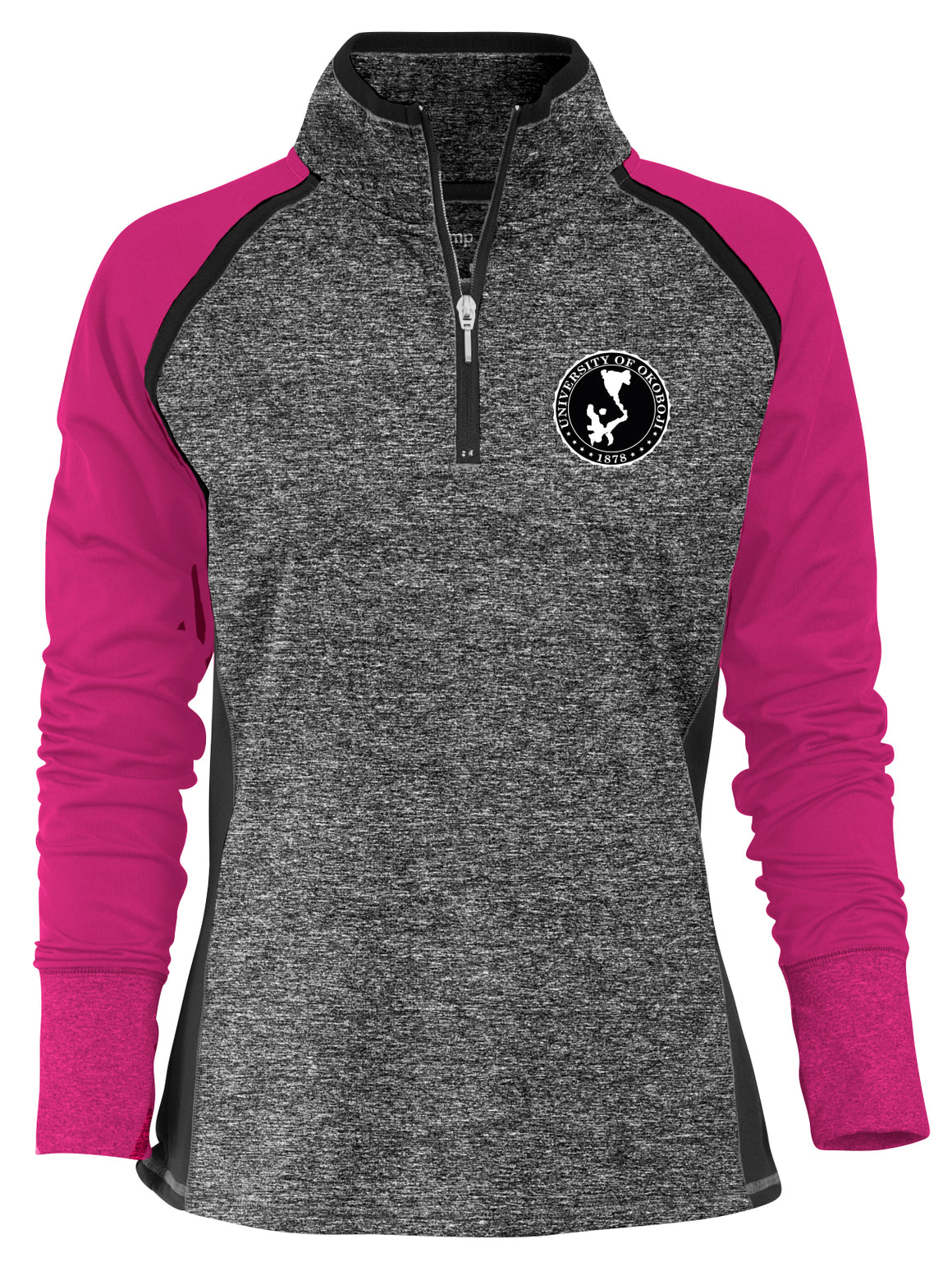 Ladies Two-tone 1/4 Zip - Dark Pink