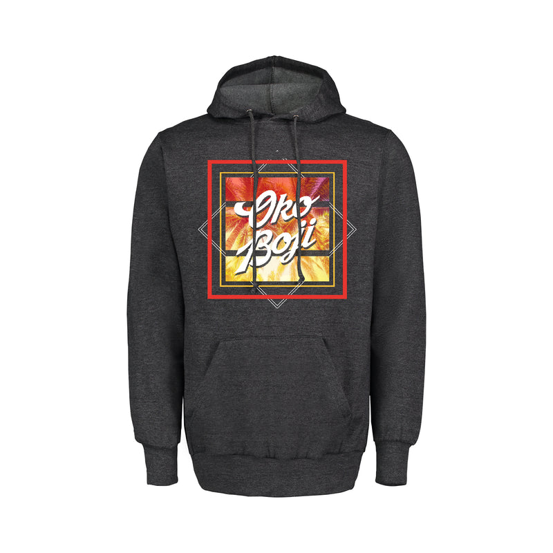 University of Okoboji Retro Heather Hood Sweatshirt - Charcoal Heather