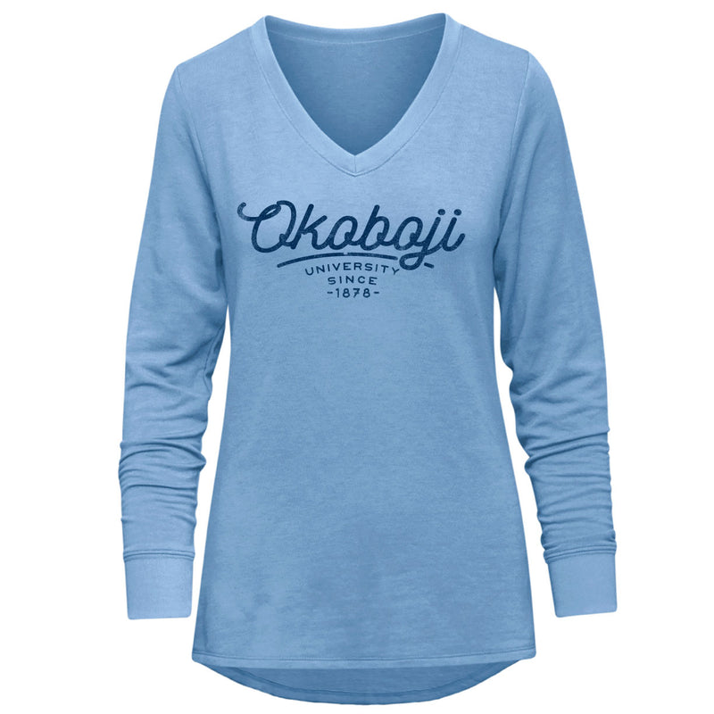 Ladies Relaxed V-Neck Okoboji Pullover - Cornflower Blue