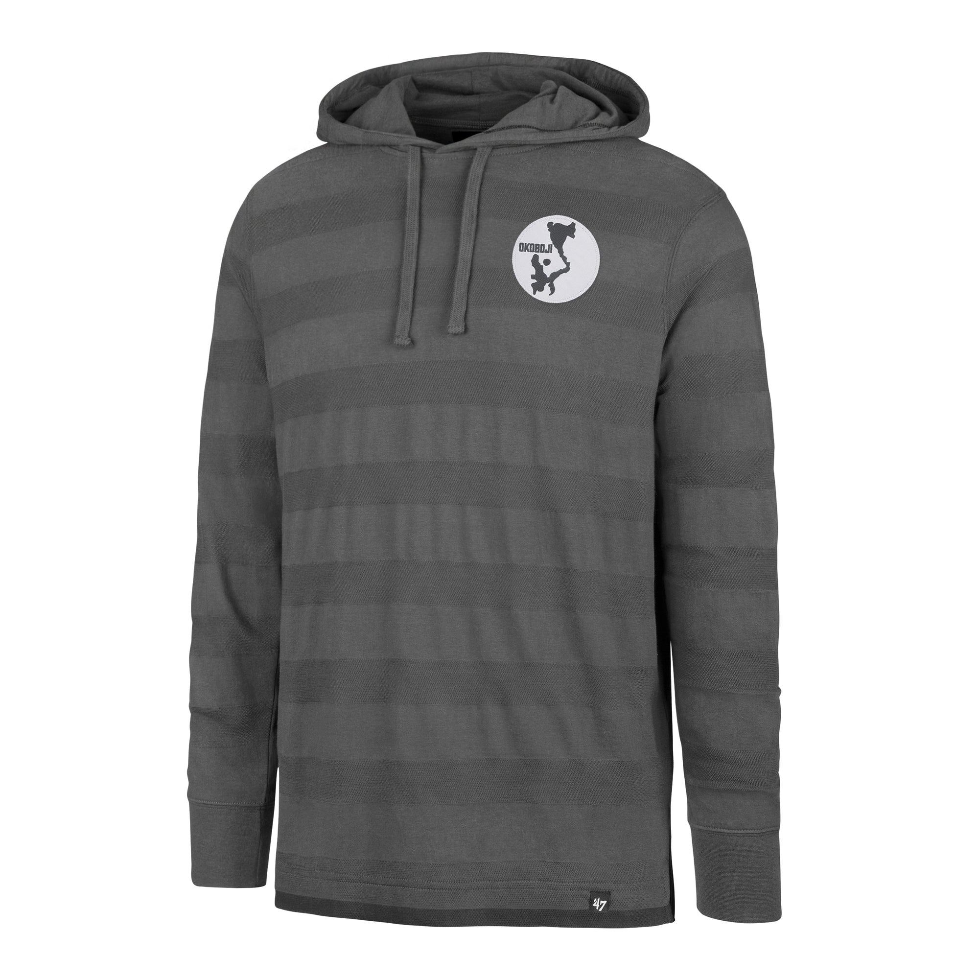 Okoboji Stripe Pique '47 Tee Hood - Charcoal / Dark Grey