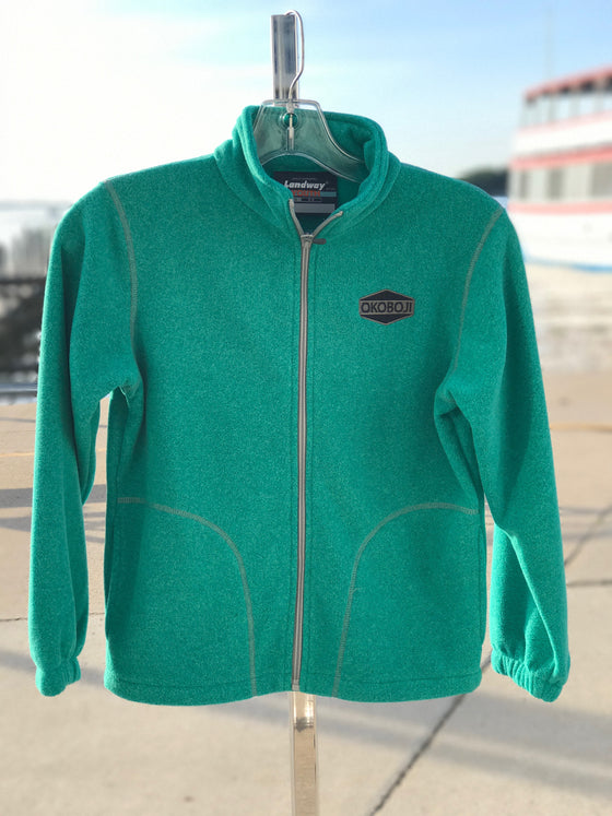 Youth Long Sleeve Full Zip Fleece - Jade Green