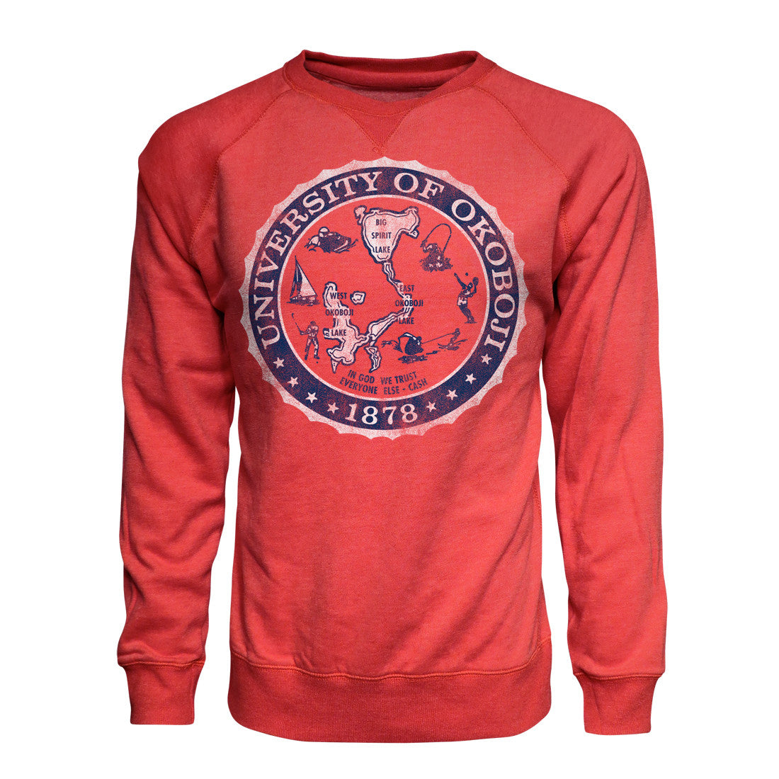 U of Okoboji Vintage Fleece Crew - Red