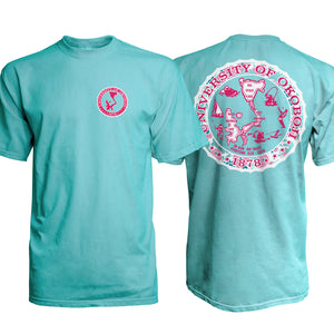 Aqua Blue Tee with Designer U of O Crest