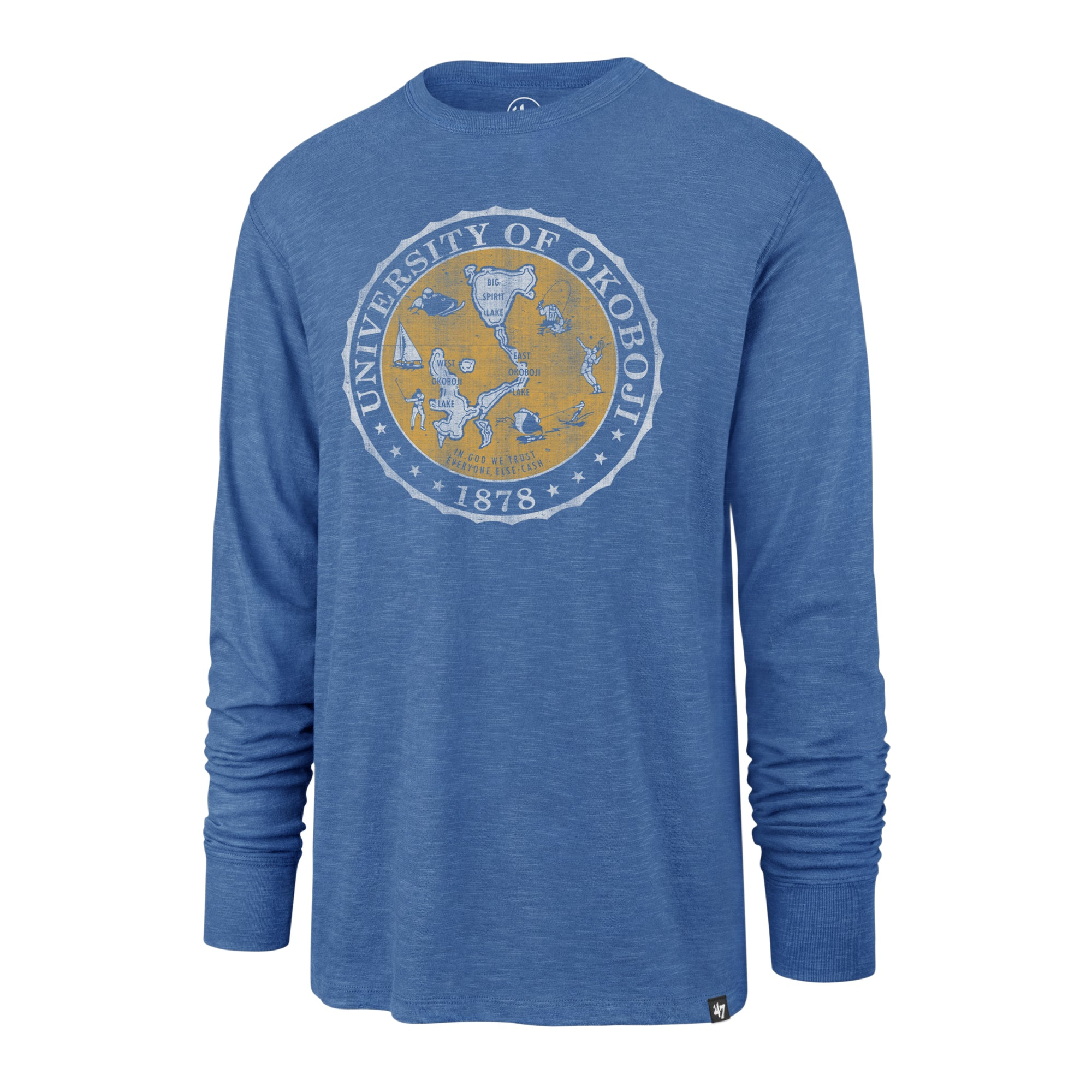 Men's '47 Long Sleeve Crest Tee - Okoboji Blue