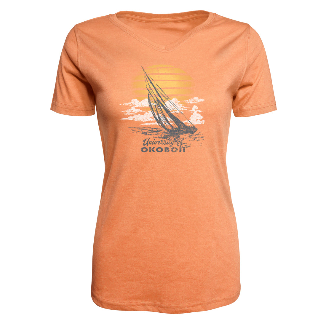 Women's Colored Triblend V-Neck Tee - Tangerine