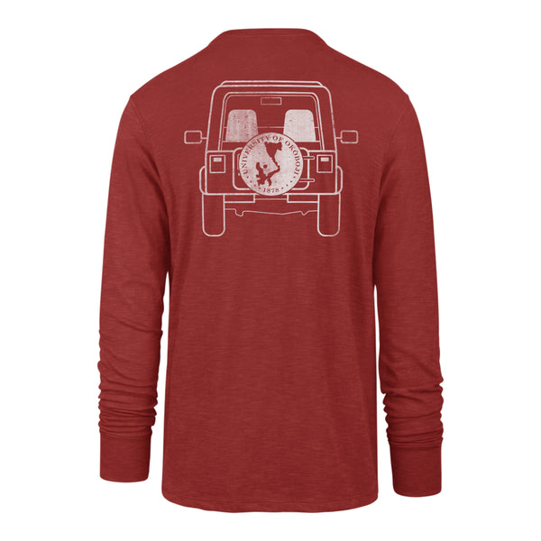 OKOBOJI BACK ROAD SCRUM LONG SLEEVE TEE - RESCUE RED