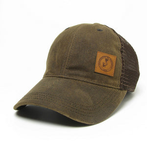 Dark Brown Leather Patch Trucker