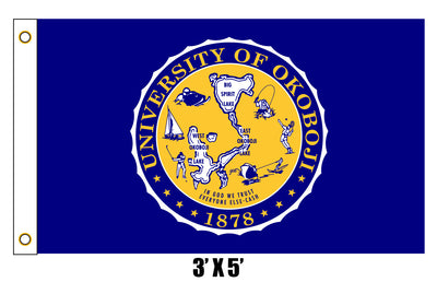 University of Okoboji Blue Sky Crest Flag