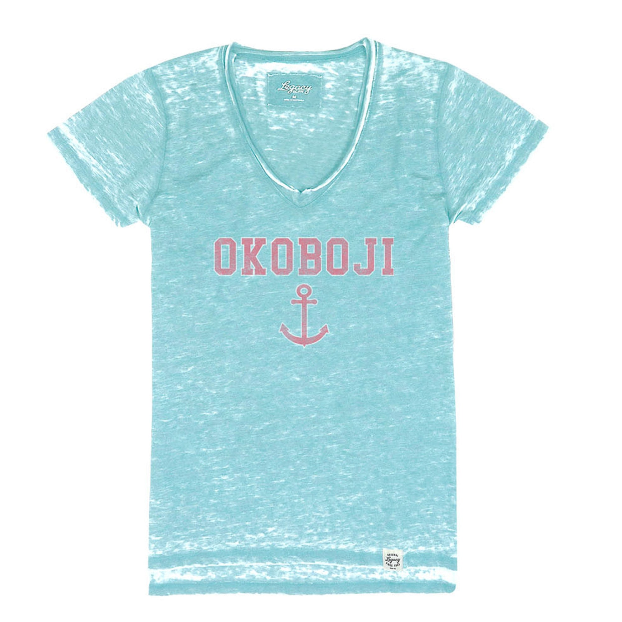 Women's Okoboji Distressed Anchor V-Neck - Heather Carolina