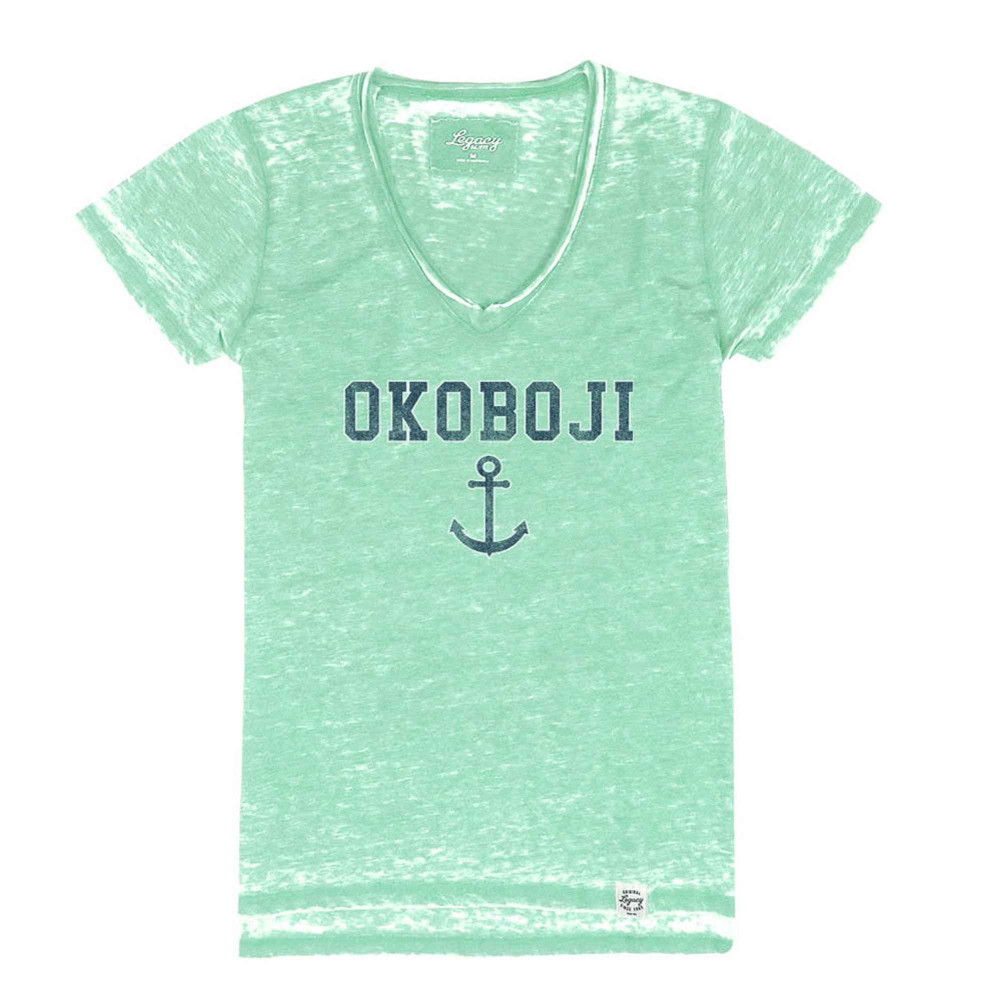Women's Okoboji Distressed Anchor V-Neck - Heather Mint