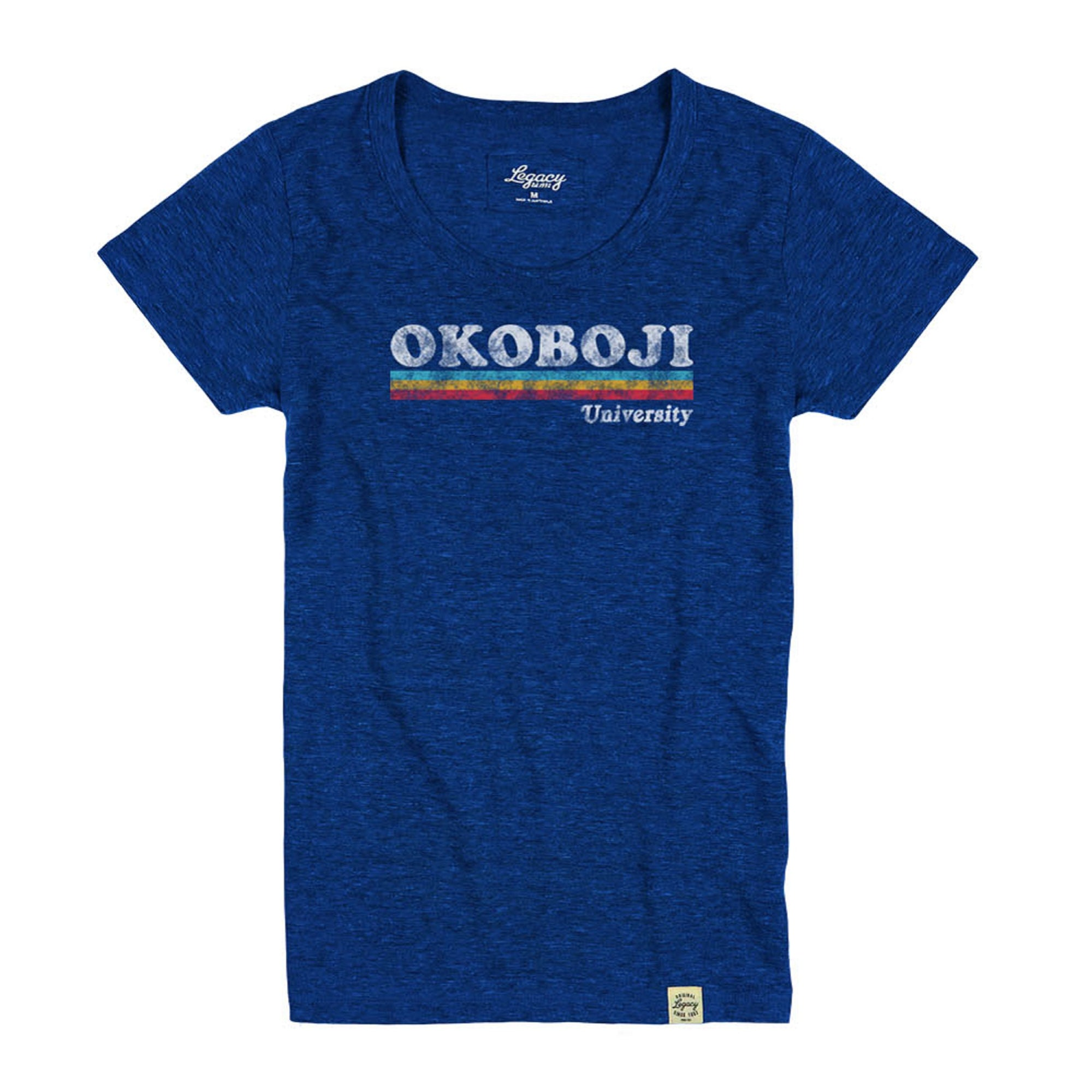 Women's Okoboji Rainbow Stripe Tri-Blend Crewneck Tee