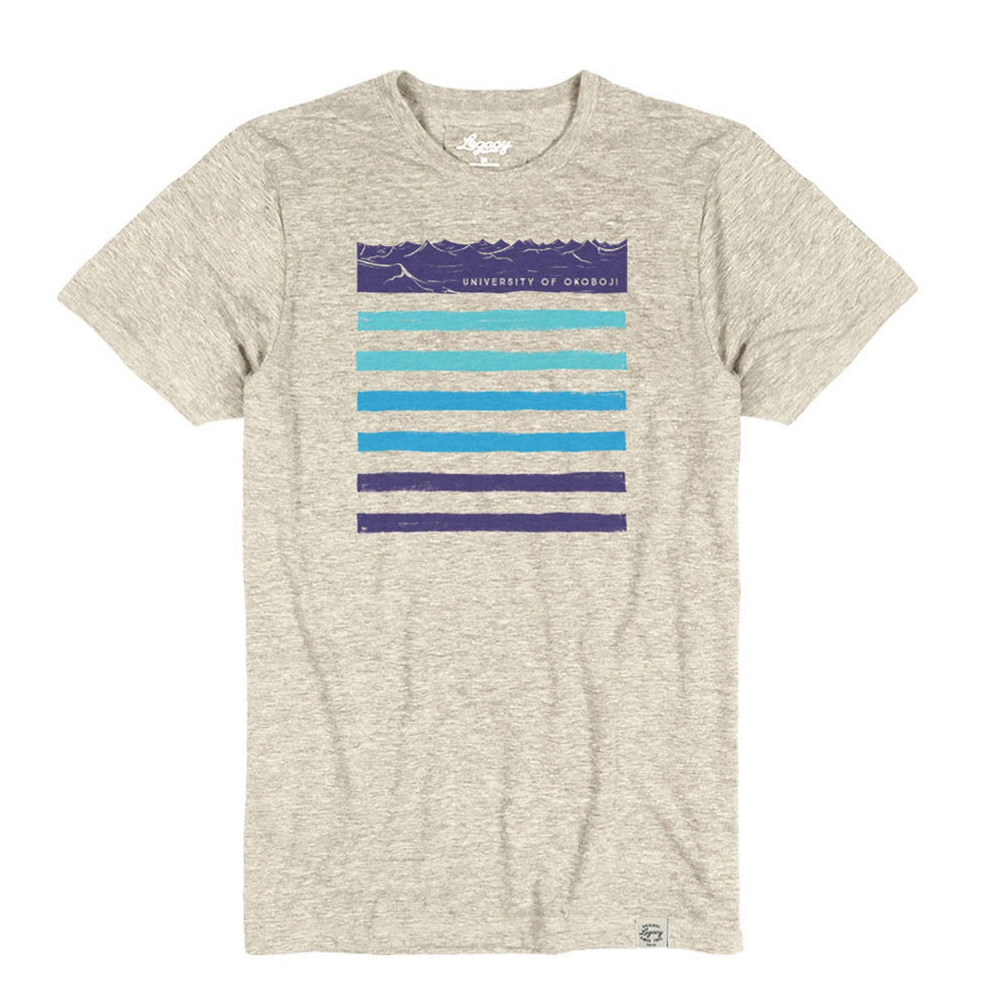 Okoboji Wave Brush Tri-Blend Crewneck Tee - Heather Oatmeal