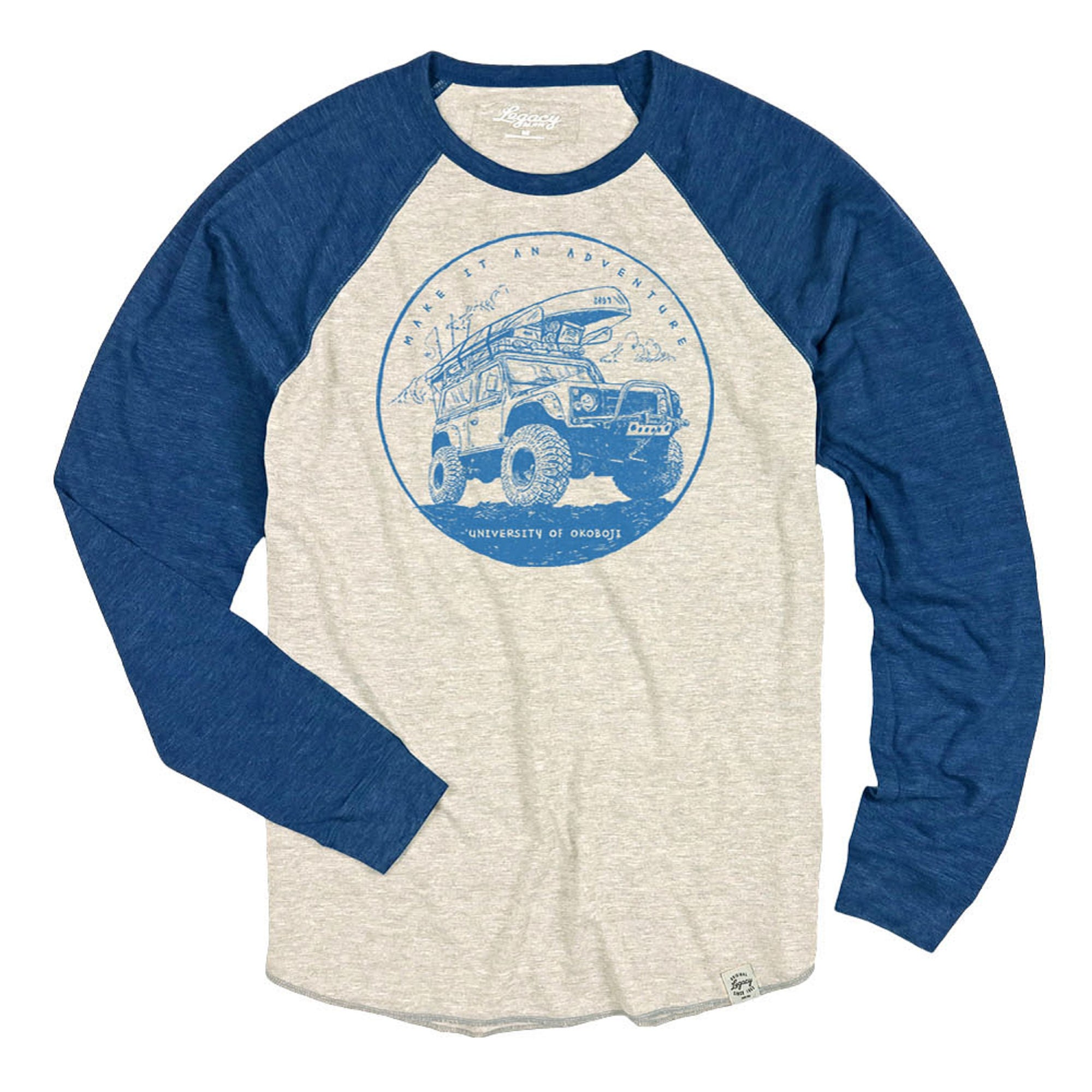 Okoboji Adventure Tri-Blend Long Sleeve Raglan - Oatmeal / Royal
