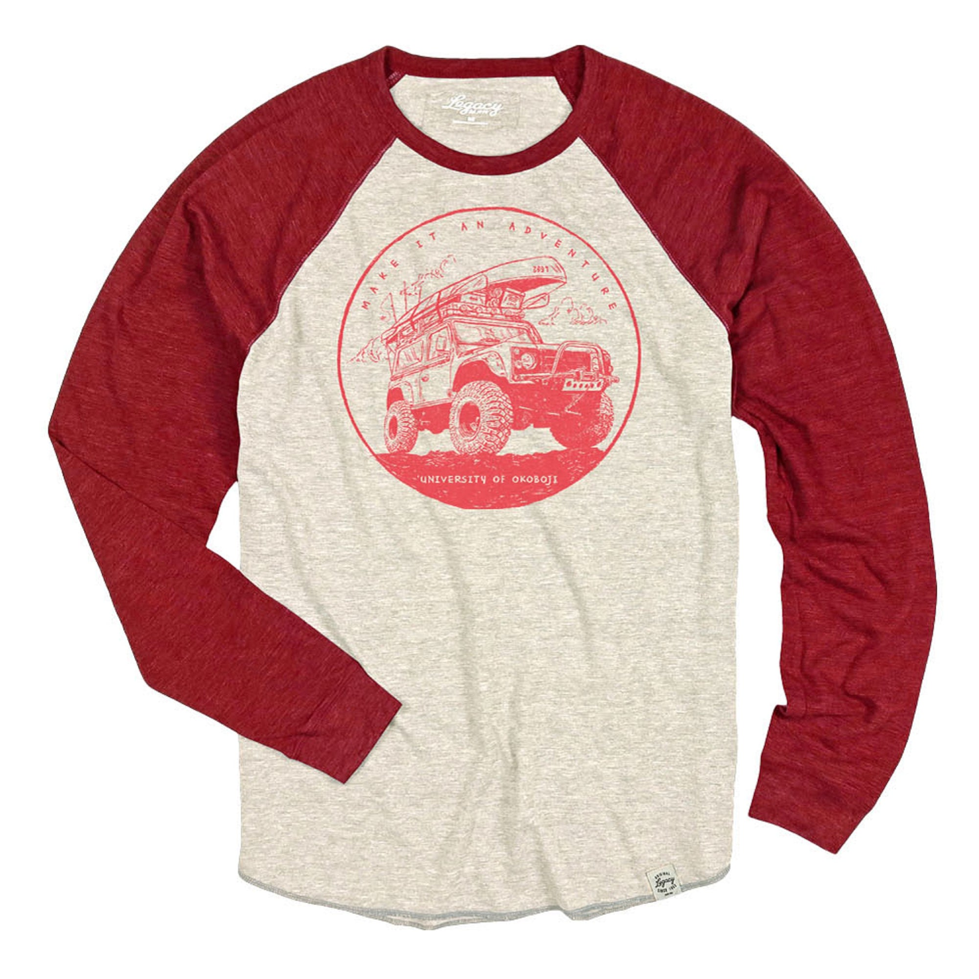 Okoboji Adventure Tri-Blend Long Sleeve Raglan - Oatmeal / Red