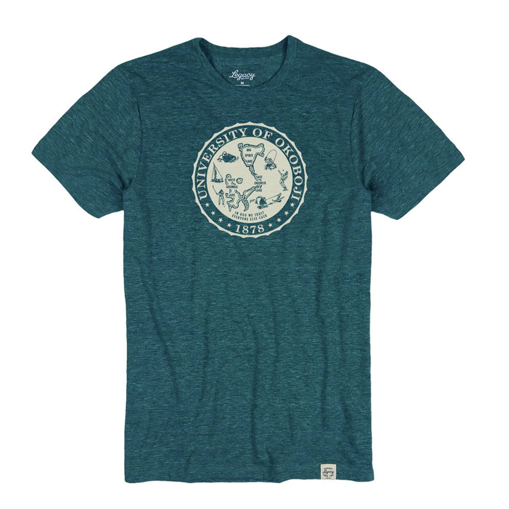 Okoboji Crest In One Tri-Blend Crewneck Tee - Heather Marine