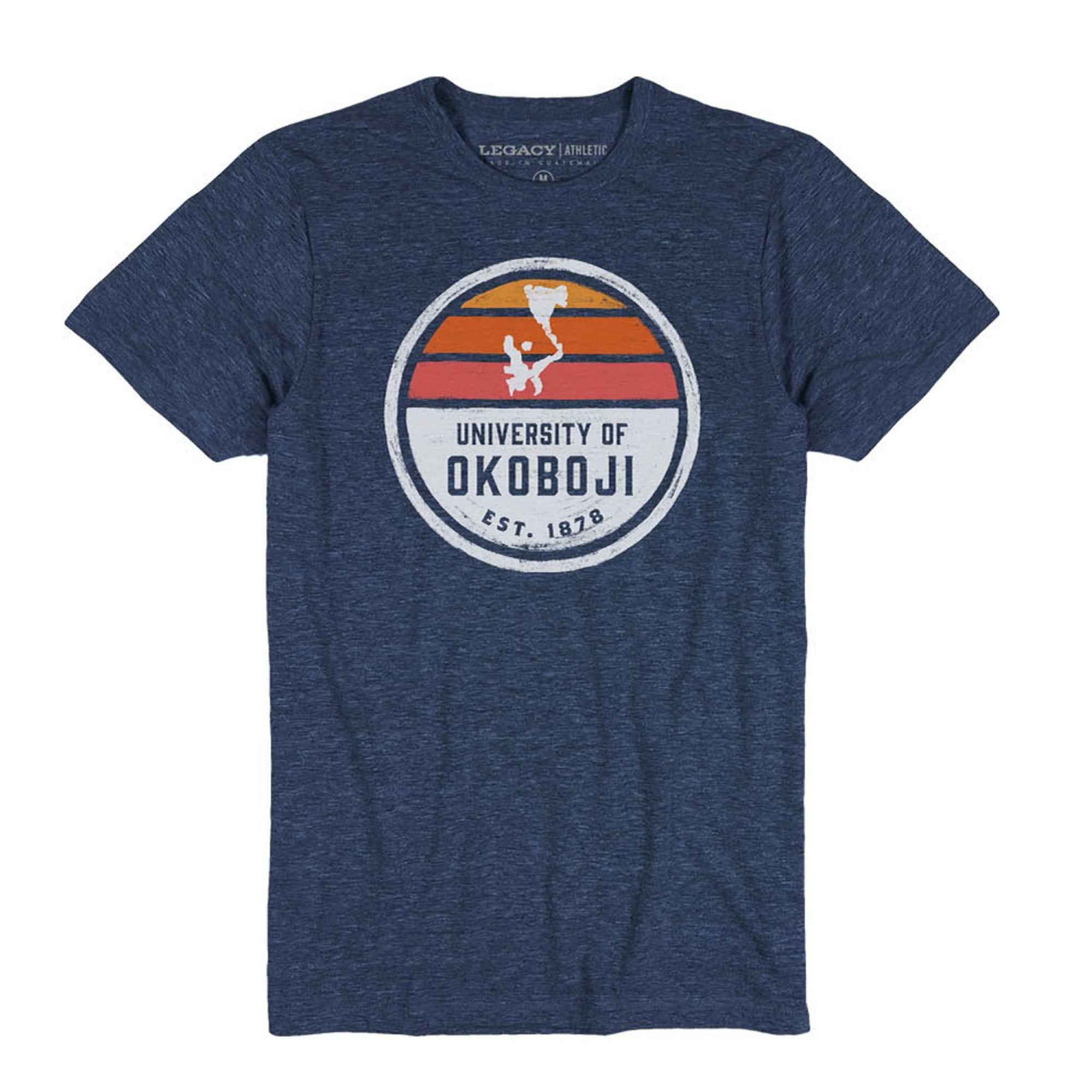 Okoboji Lake Set Tri-Flex Retro Tee - Heather Navy