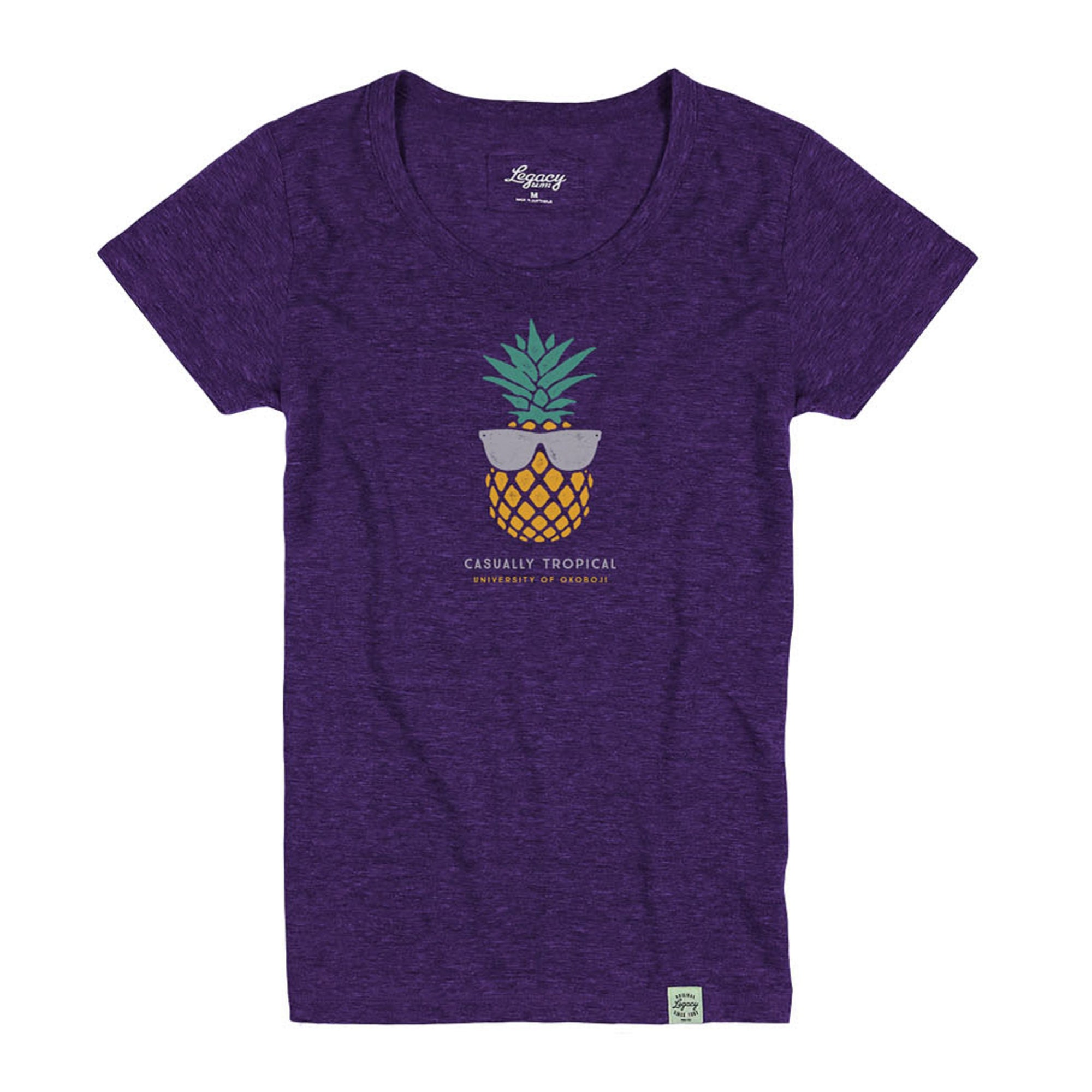 University of Okoboji Casually Tropical Tee - Purple Heather