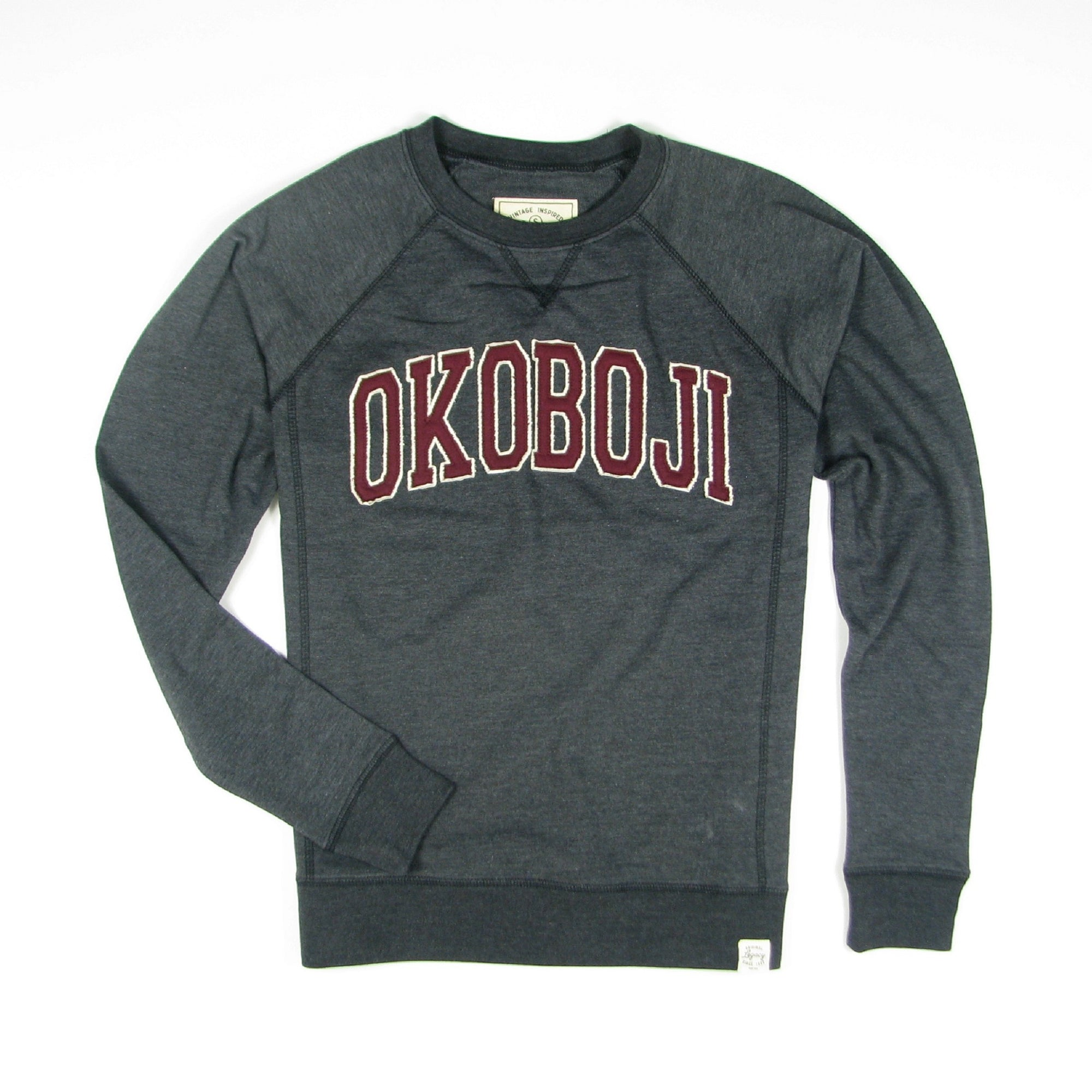 Okoboji Campus FRENCH TERRY FLEECE CREWNECK - Heather Black